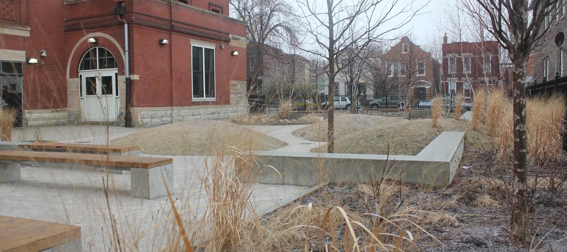 winter landscape at evergreen academy school garden